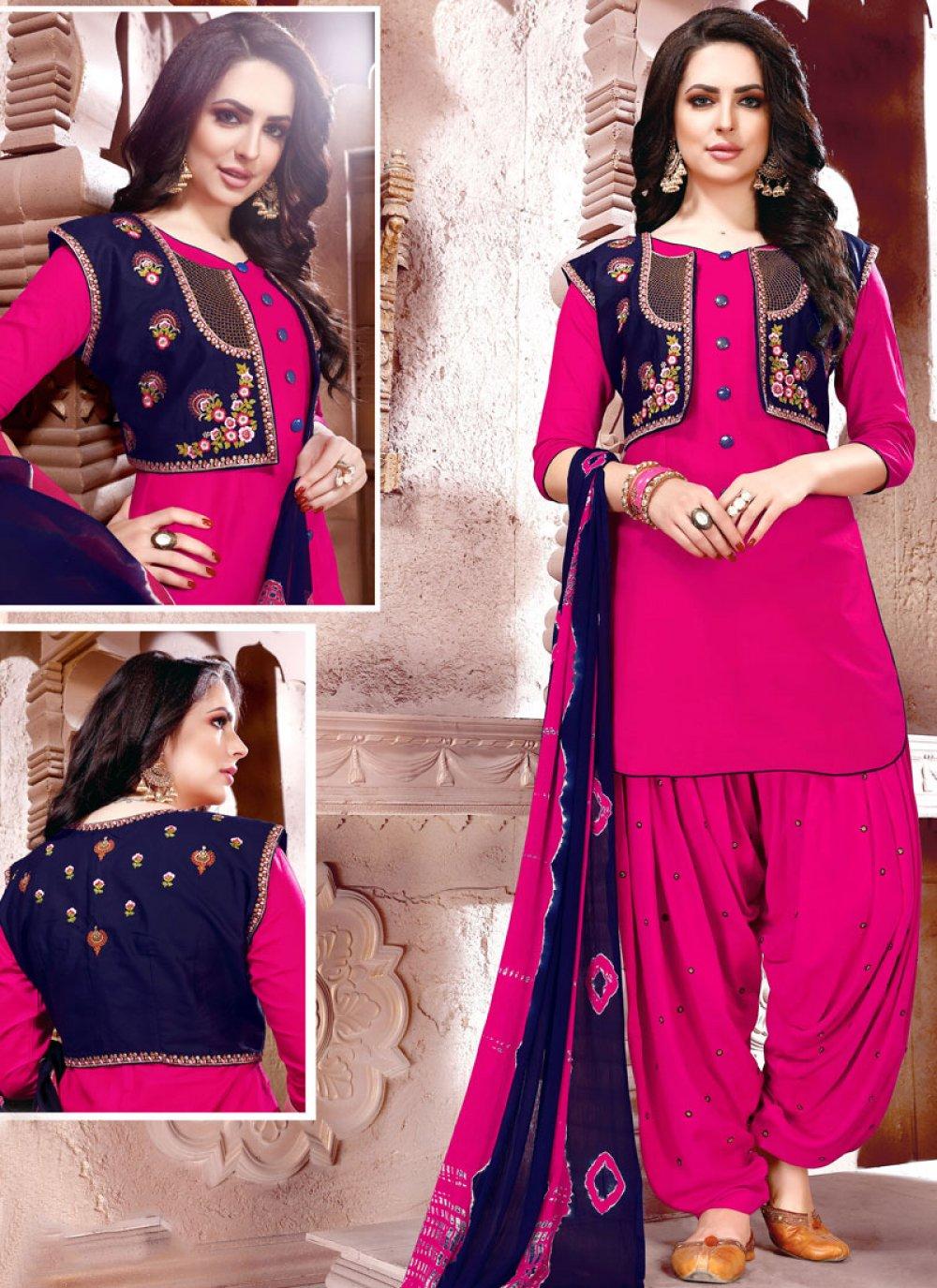 Cotton   Magenta Embroidered Punjabi Suit