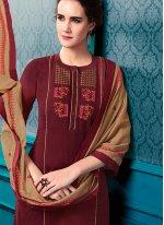 Cotton Maroon Designer Palazzo Salwar Kameez