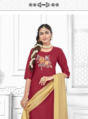 Cotton Maroon Embroidered Salwar Suit