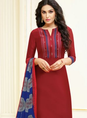 Cotton Maroon Lace Churidar Designer Suit