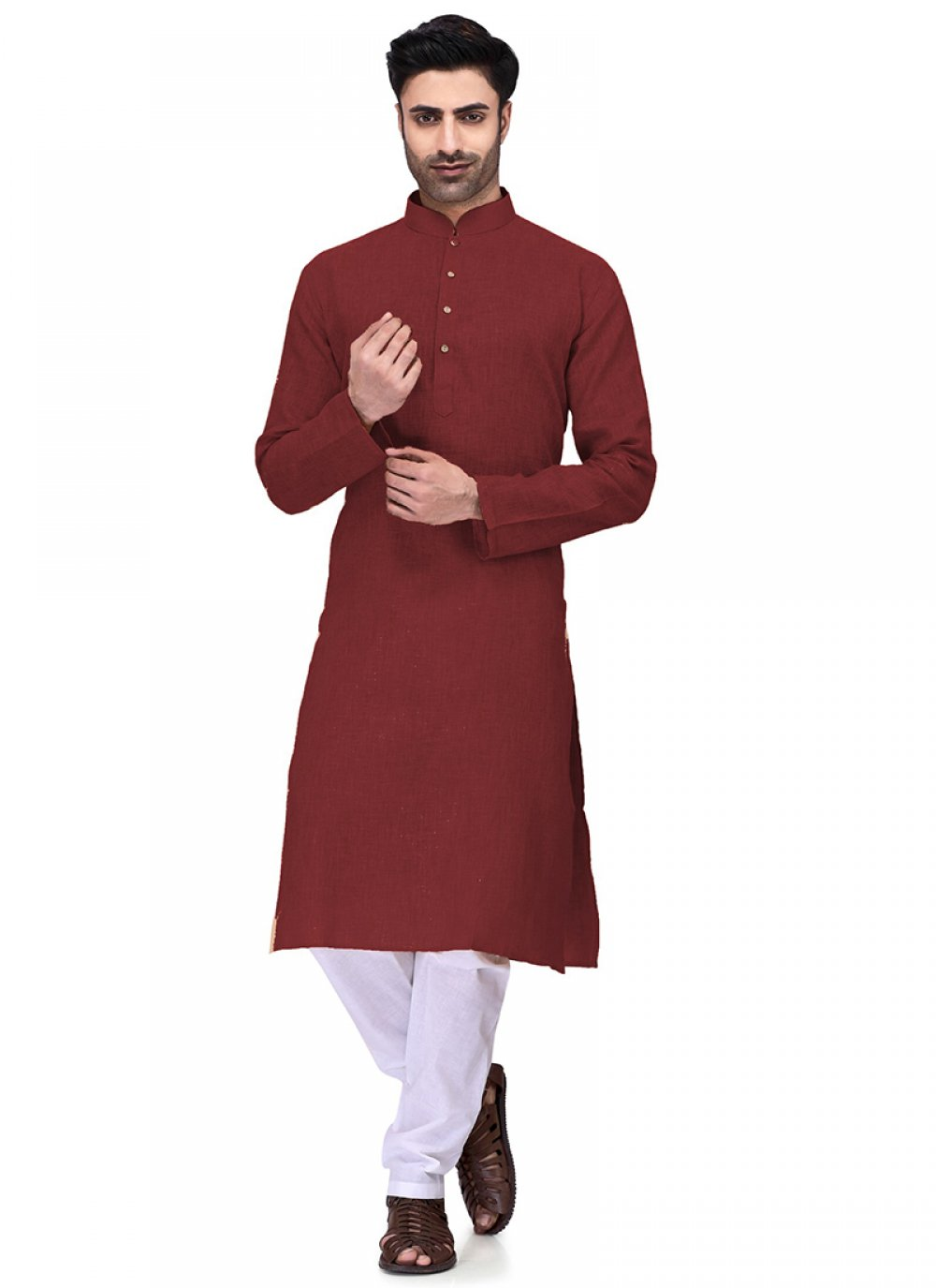 Cotton Maroon Plain Kurta Pyjama