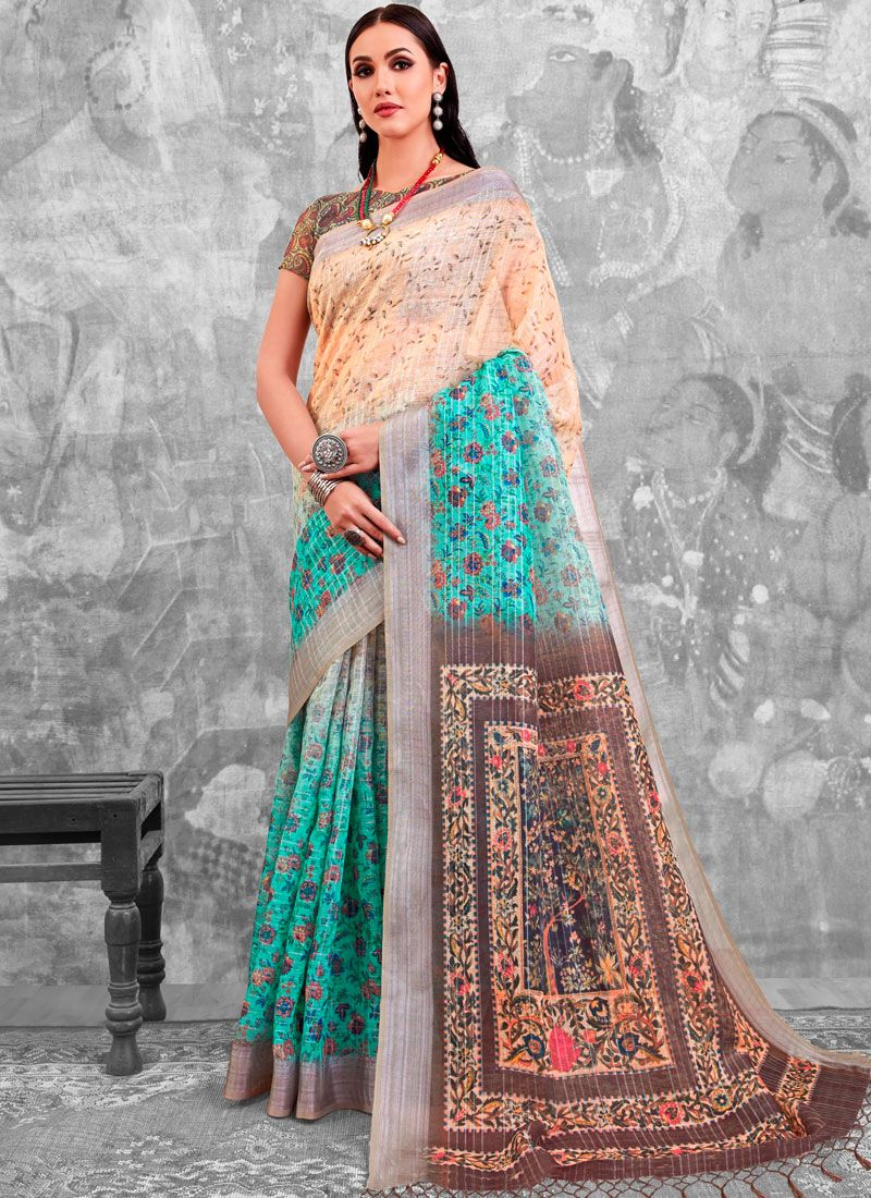 Cotton Multi Colour Abstract Print Printed Saree