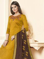 Cotton Mustard Embroidered Salwar Suit