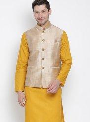 Cotton Mustard Kurta Payjama With Jacket