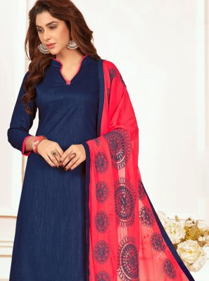 Cotton   Navy Blue Churidar Suit