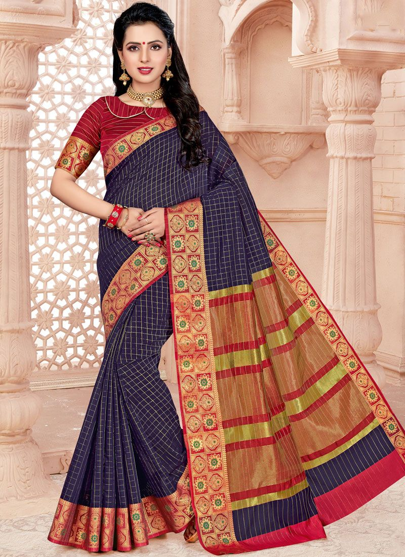 Cotton Navy Blue Classic Saree