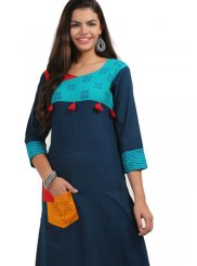 Cotton Navy Blue Fancy Casual Kurti