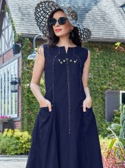 Cotton   Navy Blue Plain Party Wear Kurti
