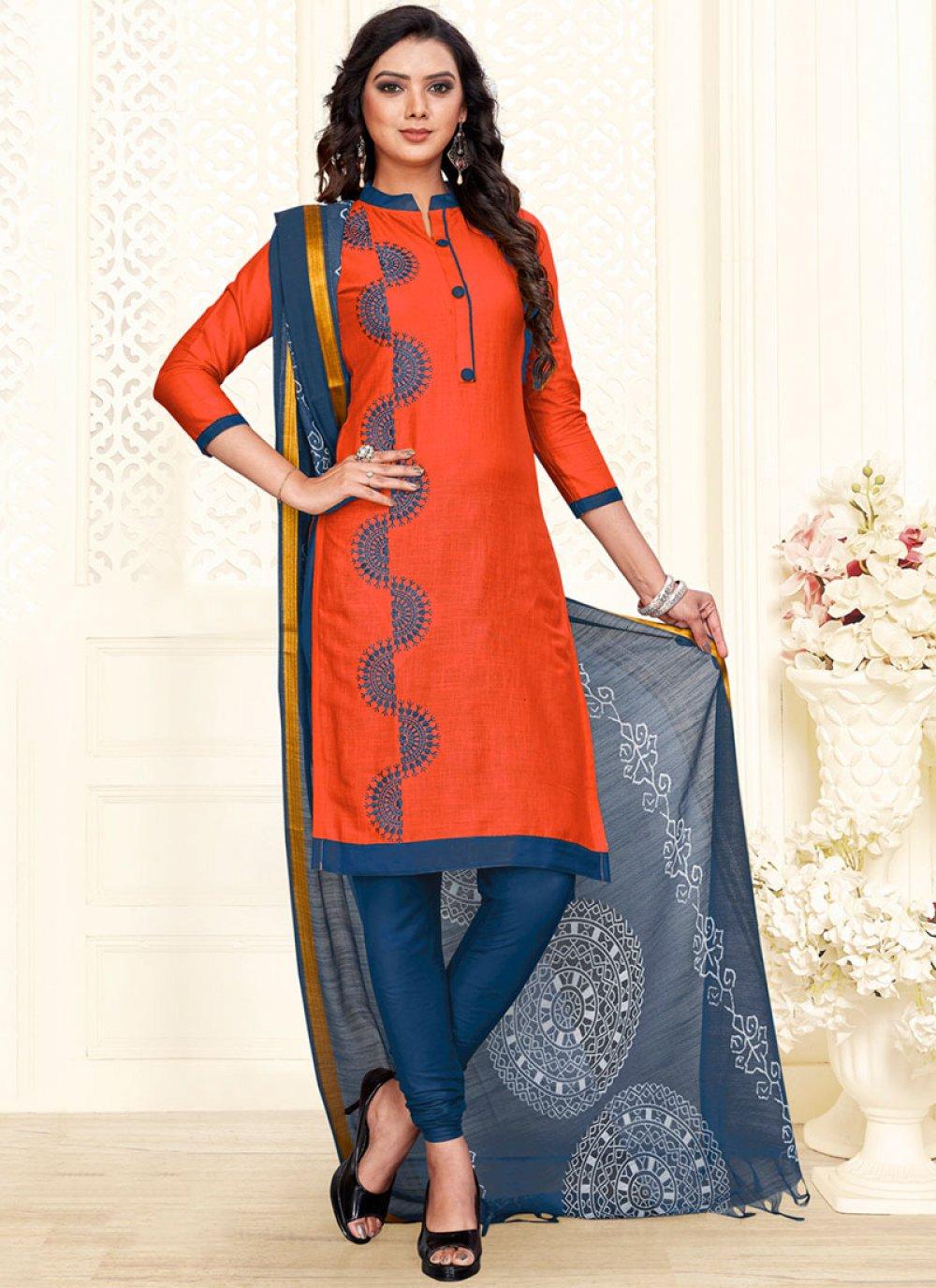 Cotton Orange Embroidered Churidar Salwar Suit