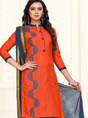Cotton Orange Embroidered Churidar Salwar Suit