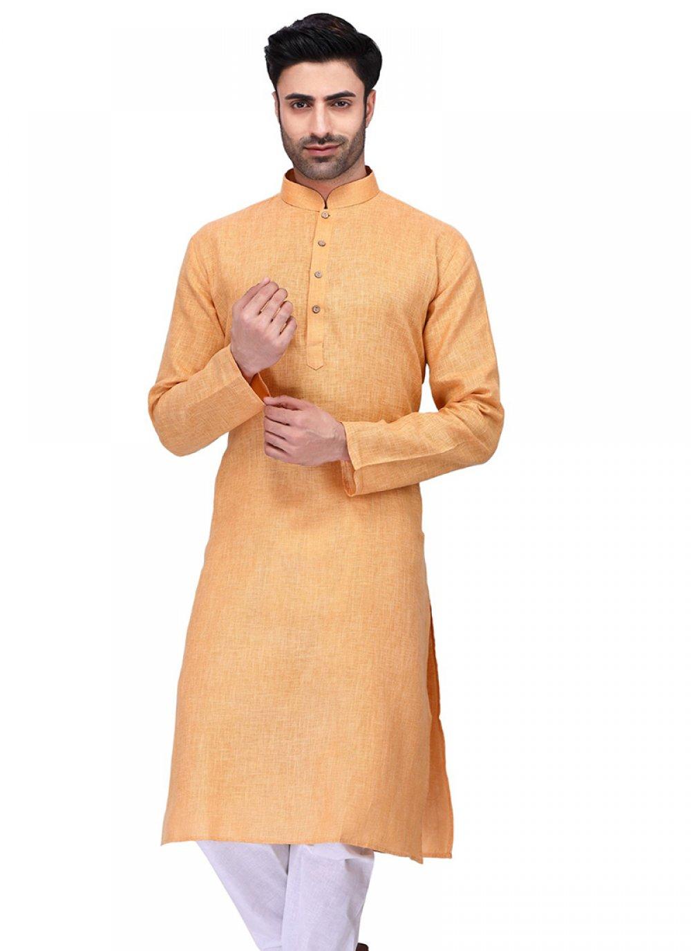 Cotton Orange Plain Kurta