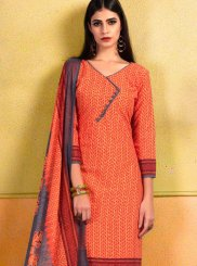 Cotton Orange Print Churidar Suit