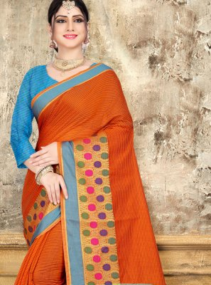 Cotton Orange Woven Classic Saree