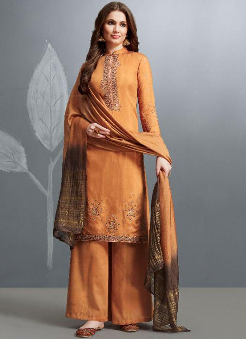 Cotton Palazzo Designer Salwar Kameez in Orange