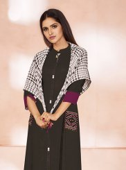 Cotton Party Wear Kurti in Black and Wine