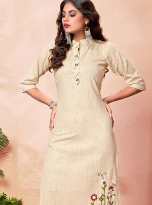 Cotton Party Wear Kurti in Cream