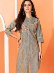 Cotton Party Wear Kurti in Grey