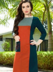 Cotton Party Wear Kurti in Orange