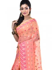 Cotton Peach Designer Saree