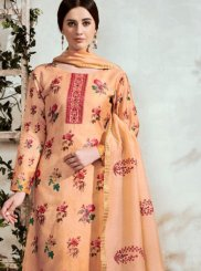 Cotton Peach Designer Suit