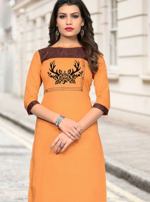 Cotton Mustard Fancy Casual Kurti