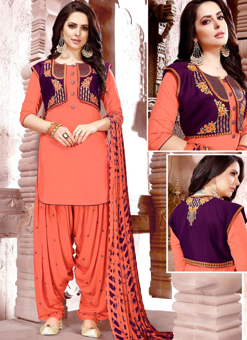Cotton   Peach Punjabi Suit