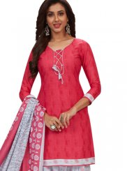 Cotton Pink and White Printed Patiala Salwar Suit