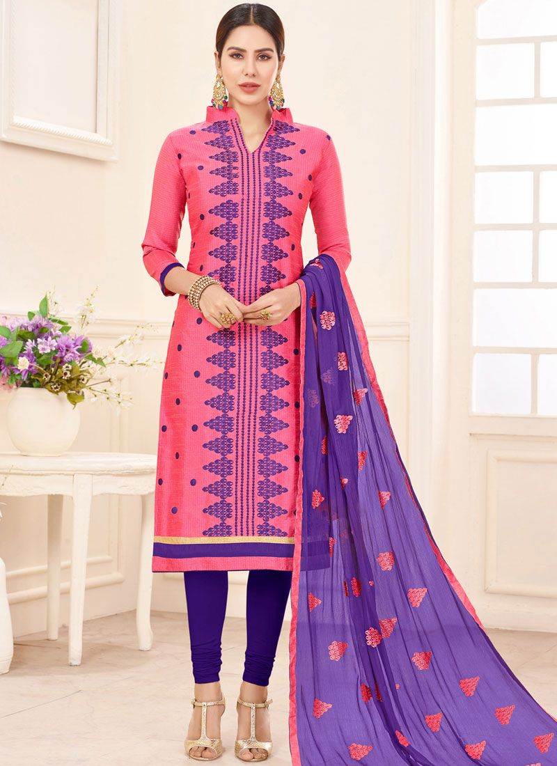 Cotton Pink Churidar Suit
