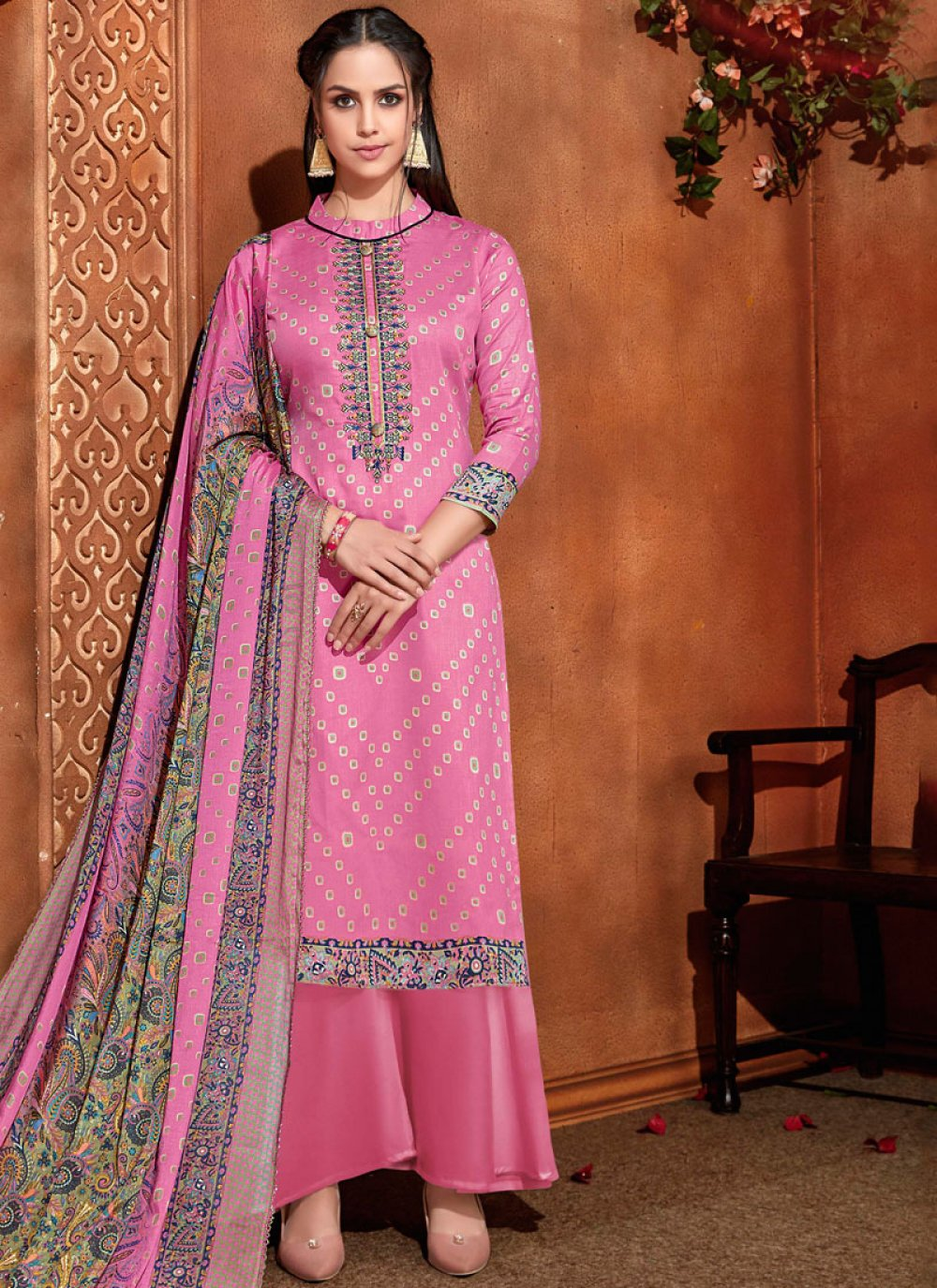 Cotton Pink Embroidered Pant Style Suit