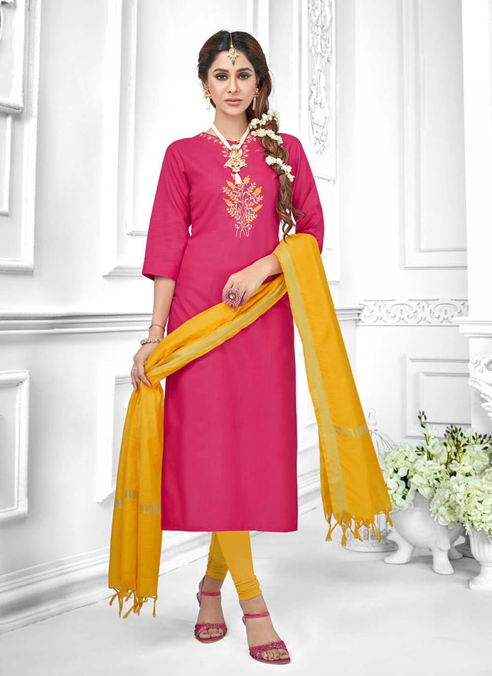 Cotton Pink Embroidered Salwar Suit