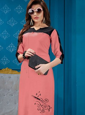 Cotton Pink Fancy Party Wear Kurti