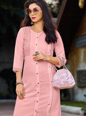 Cotton Pink Party Wear Kurti