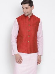 Cotton Pink Plain Kurta Payjama With Jacket