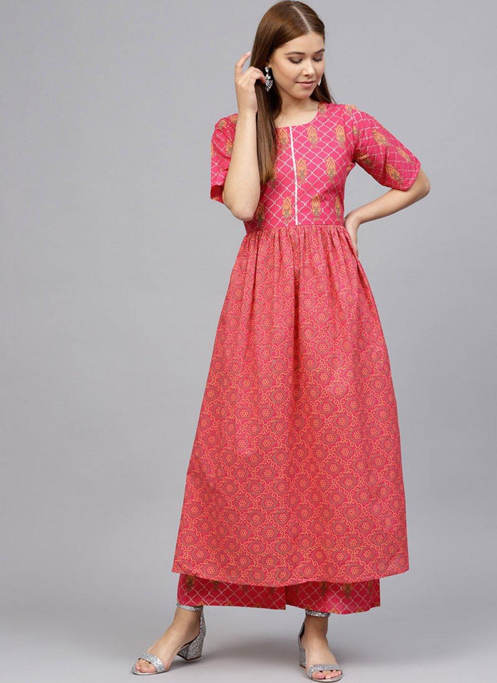 Cotton Pink Readymade Designer Suit
