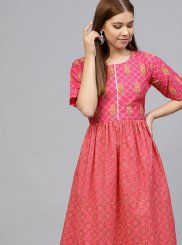 Cotton Pink Readymade Designer Suit