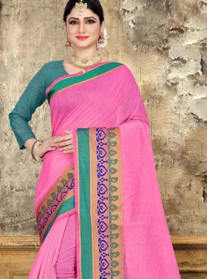 Cotton Pink Woven Saree