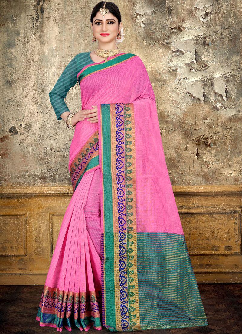 Cotton Pink Woven Saree