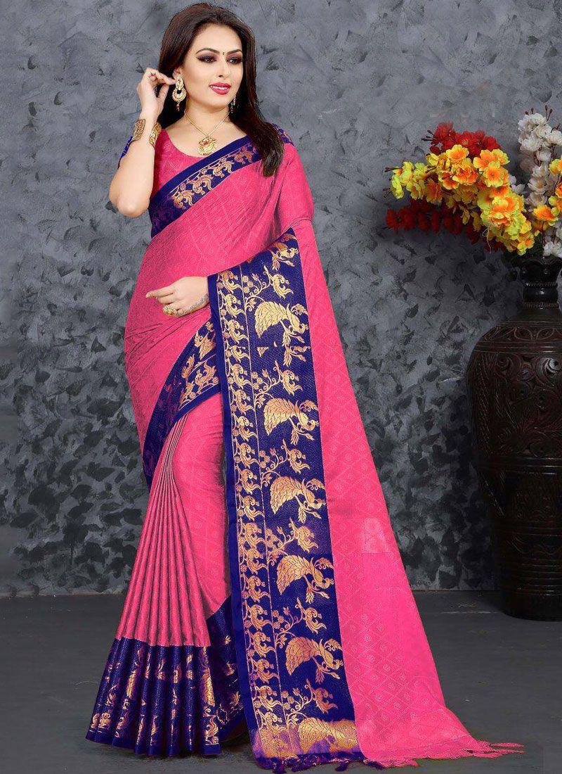 Cotton Pink Zari Casual Saree