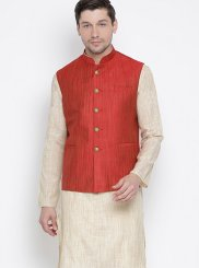 Cotton Plain Beige Kurta Payjama With Jacket