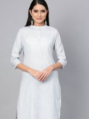 Cotton Plain Blue Casual Kurti
