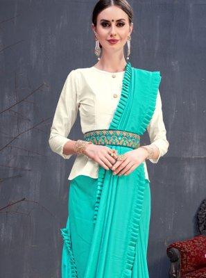 Cotton Plain Blue Designer Saree