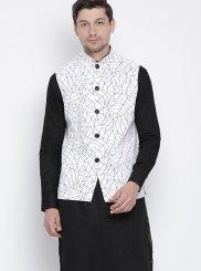 Cotton Plain Kurta Payjama With Jacket in Black