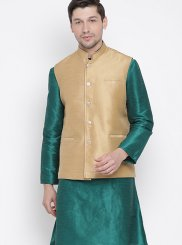 Cotton Plain Kurta Payjama With Jacket in Green