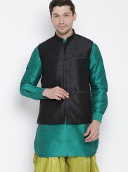 Cotton Plain Kurta Payjama With Jacket in Green