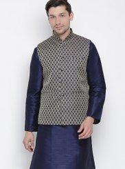 Cotton Plain Kurta Payjama With Jacket in Navy Blue