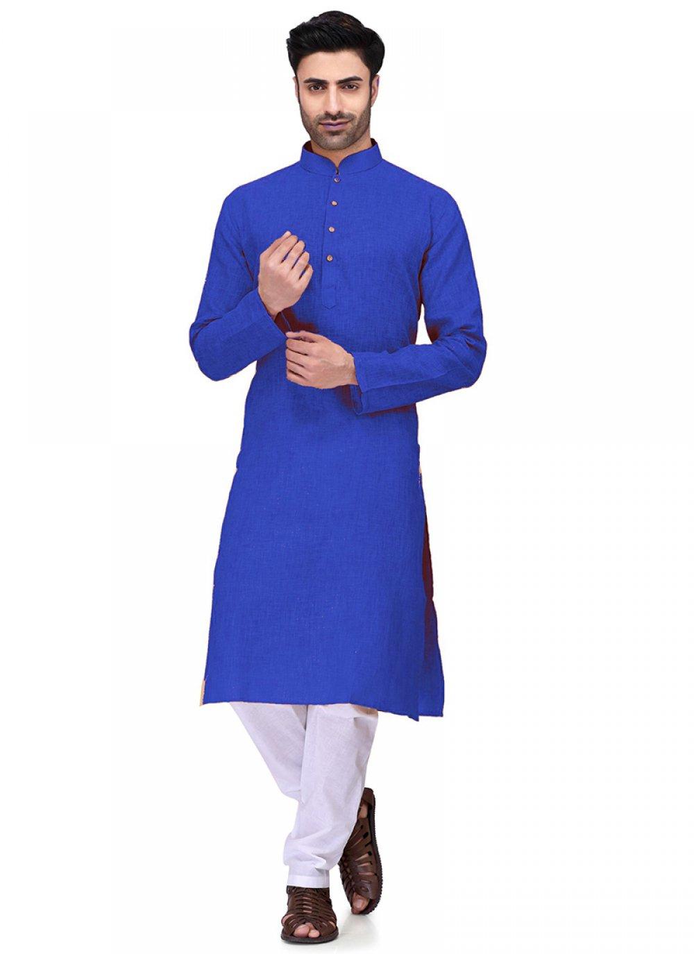 Cotton Plain Kurta Pyjama in Blue