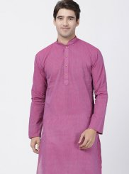 Cotton Plain Kurta Pyjama in Pink