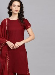 Cotton Plain Maroon Readymade Suit