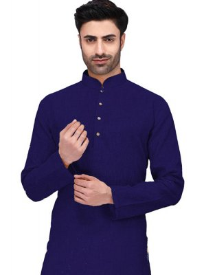 Cotton Plain Navy Blue Kurta