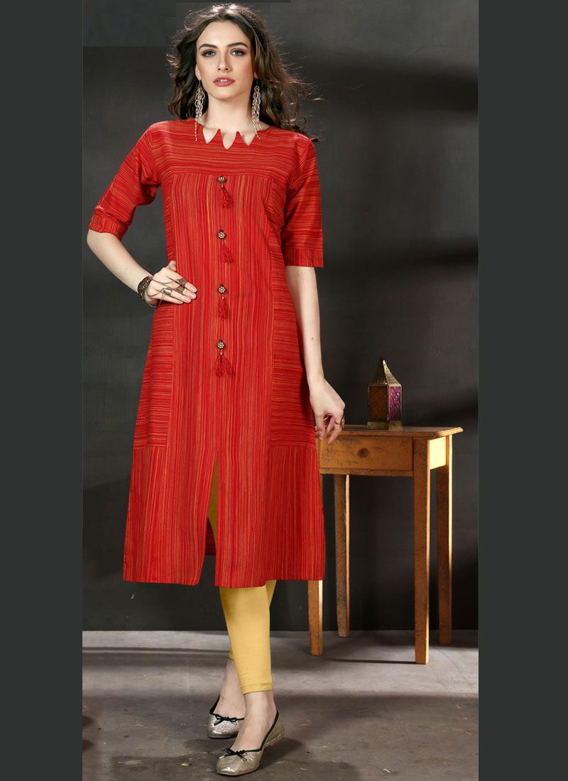 Cotton Plain Party Wear Kurti in Red